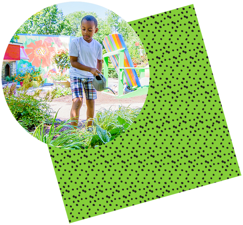 Young boy in Story Garden with green and black dot texture