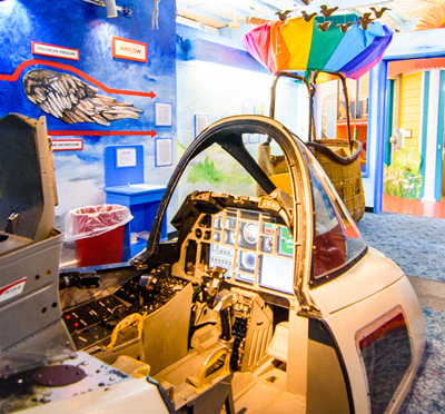 Cockpit and flight exhibit