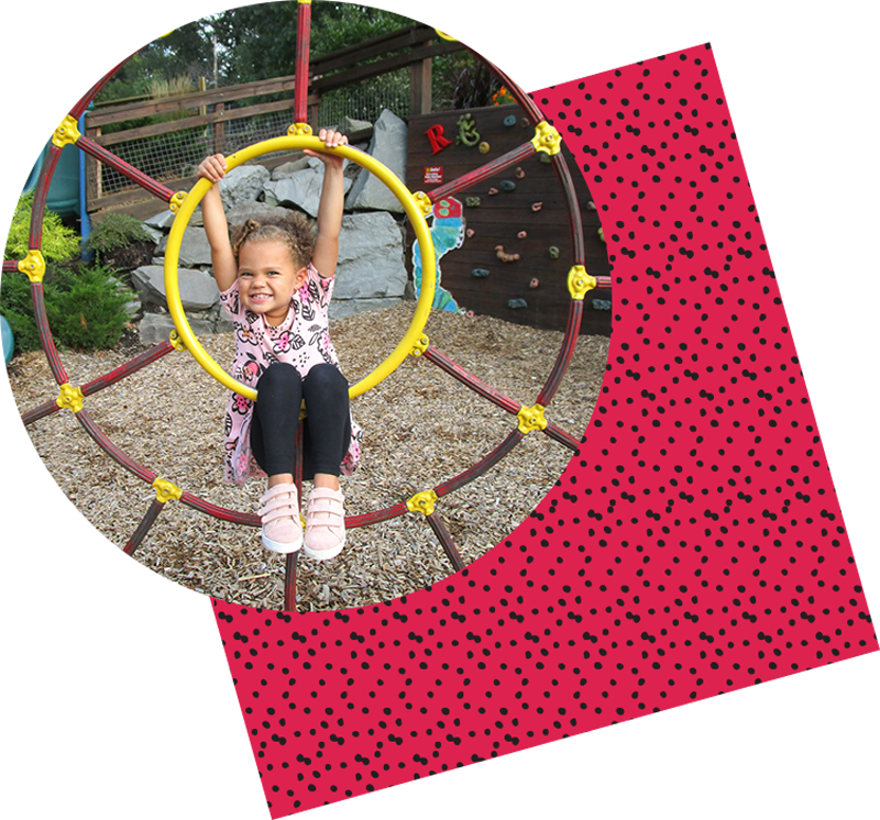 Girl playing outside with dot pattern texture behind image