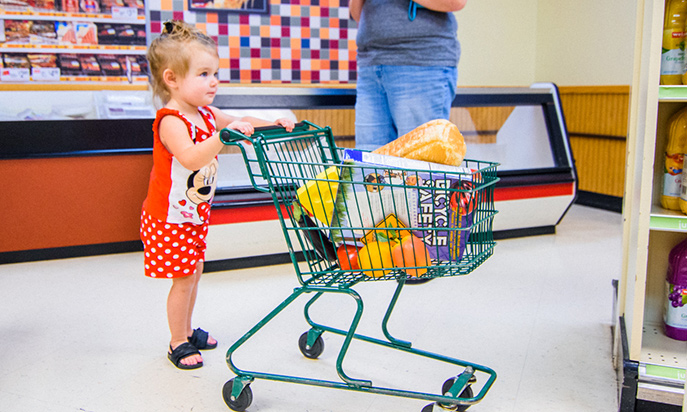 Young girl with shopping cart in Weis Market exhibit