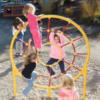 Children playing in story garden